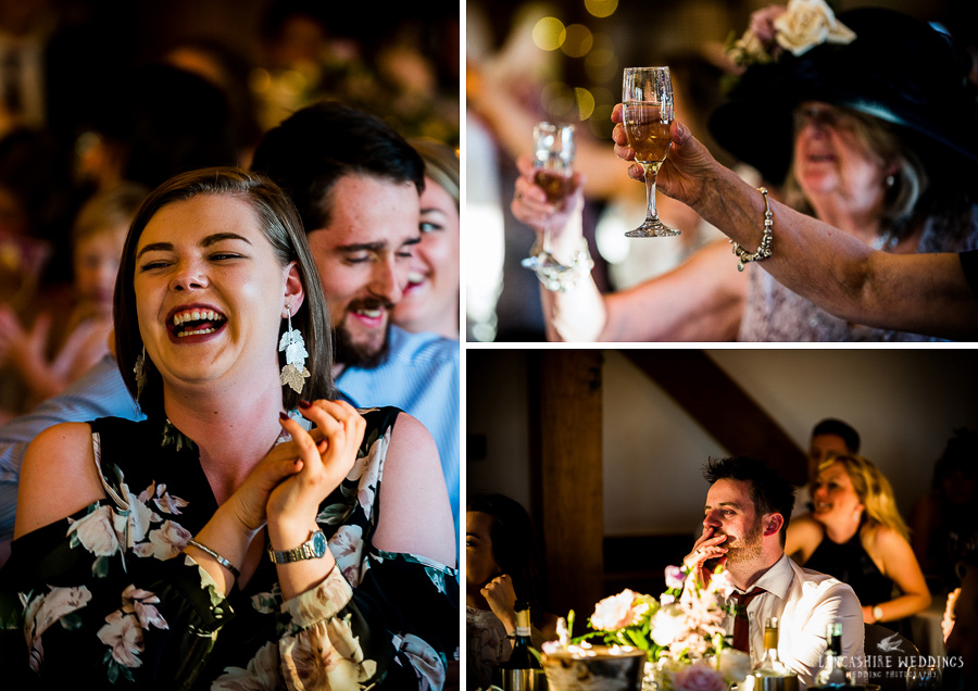 Wedding guests celebrating speeches at Sandhole Barn
