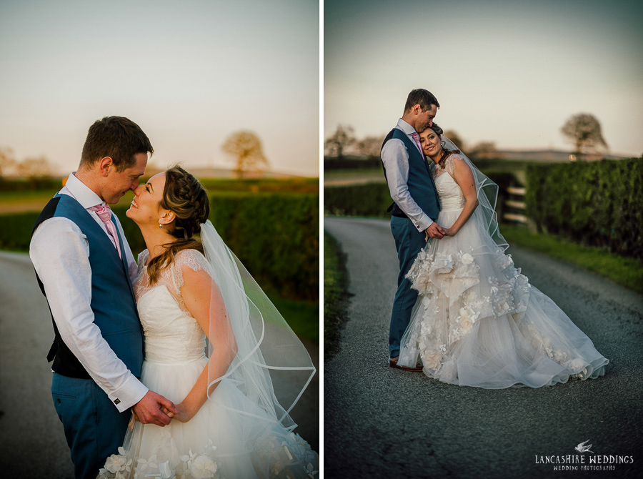 Stunning brides dress at Sandhole Oak Barn
