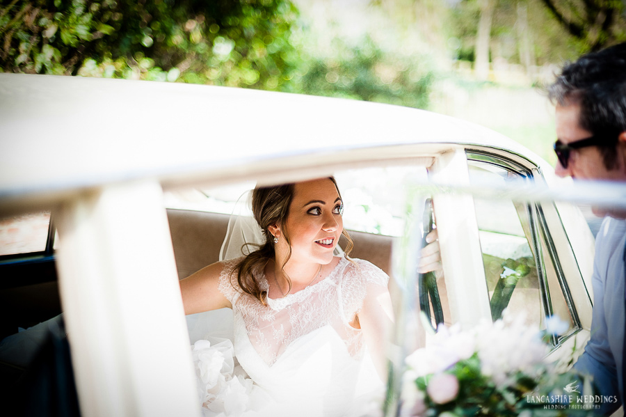 Gawsworth Church bride arriving in her car