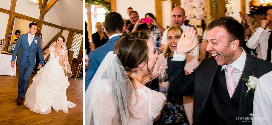 Wedding speeches with laughter at Sandhole-Oak-Barn