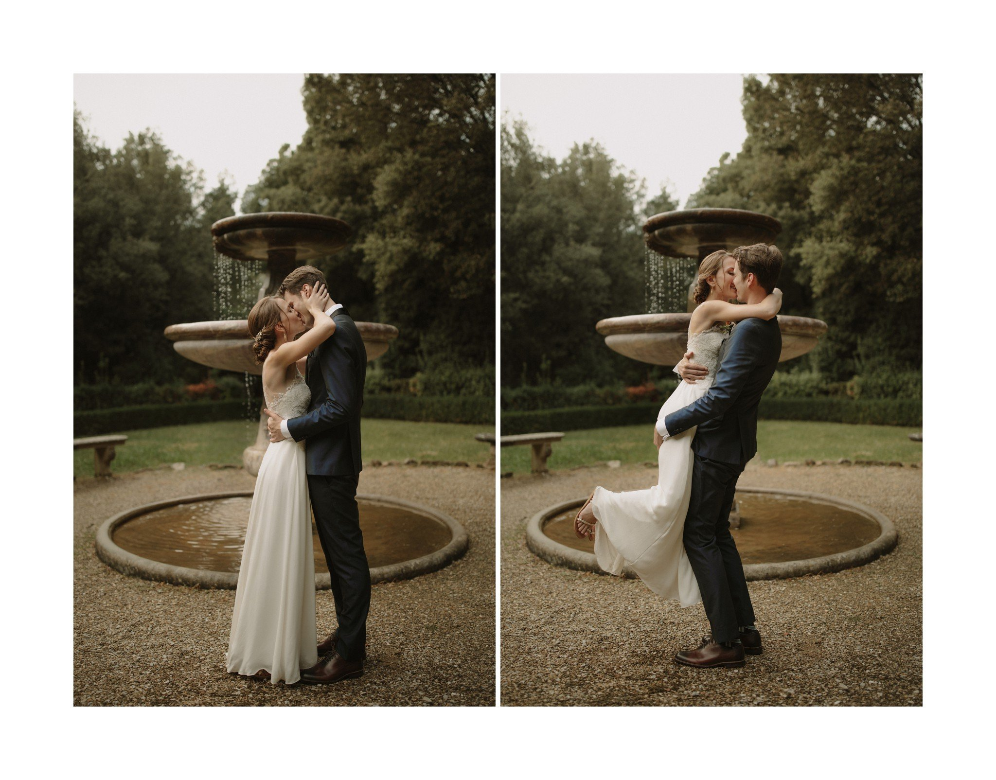 italy elopement first kiss photo
