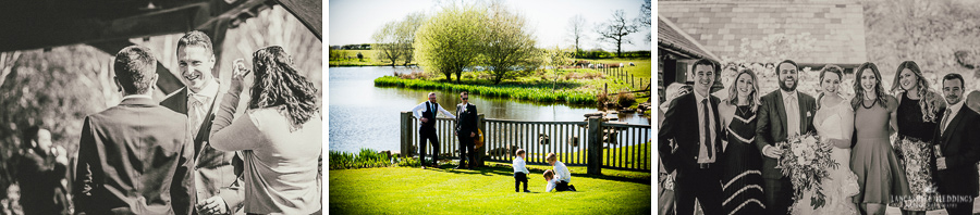 wedding guests enjoying the views at Sandhole Oak Barn