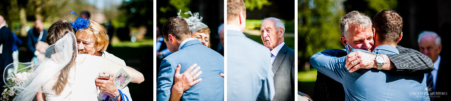 Wedding guest congratulating the bride and groom at Gawsworth church