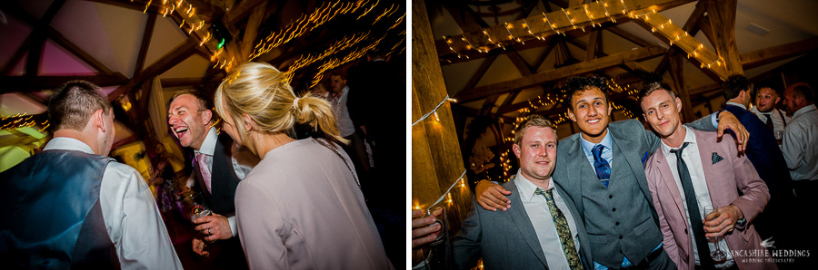 Happy wedding guests at Sandhole-Oak-Barn