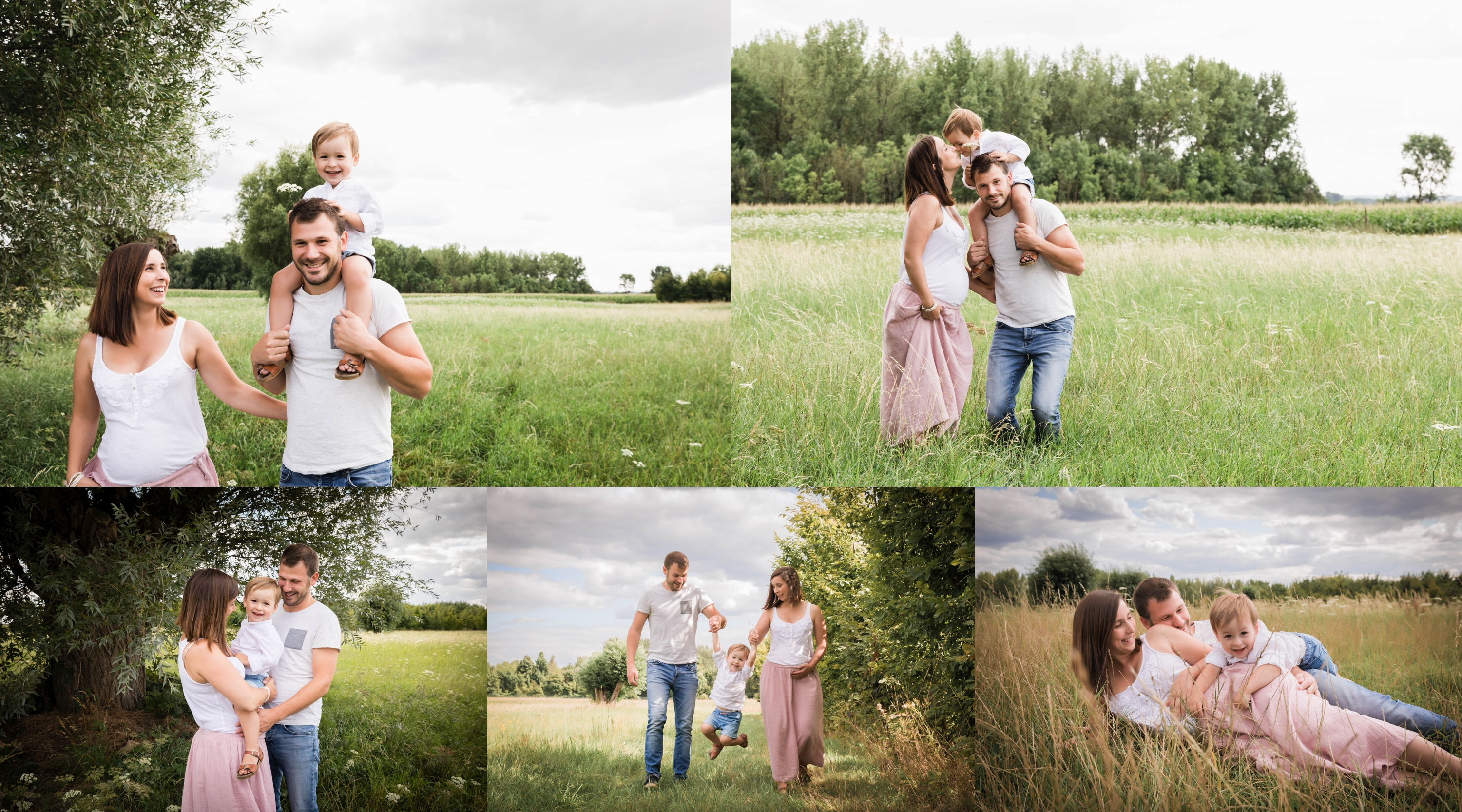 Outdoor maternity photo session with dad and sibling by Manhattan maternity photographer