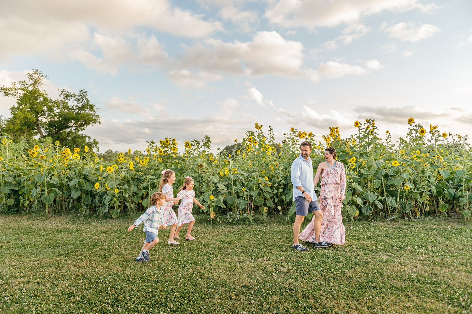 family and sunflower field, golden hour photography, golden hour family photography, Rya Duncklee Portraits