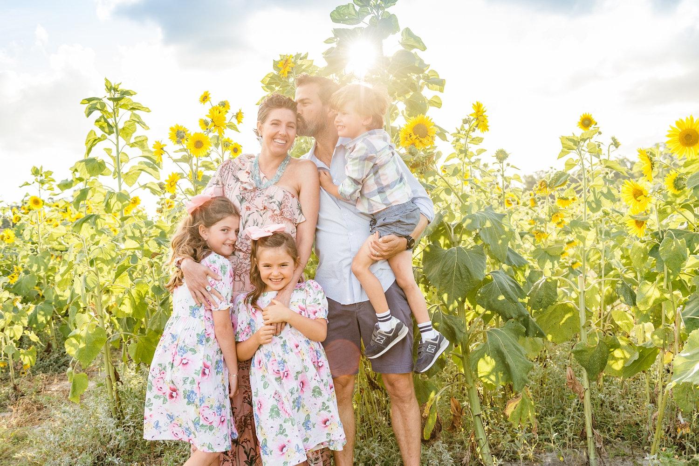 sunflower photoshoot family, Jacksonville, FL, sunflower fields, Rya Duncklee