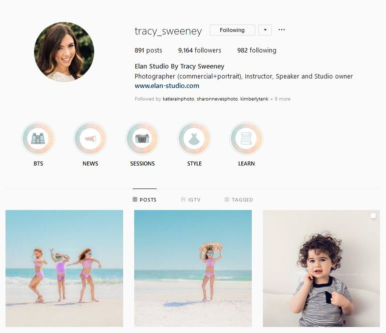 Tracy Sweeney Elan Studio Instagram profile